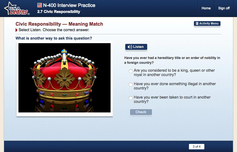 screenshot from Civic Responsibility lesson in N-400 Interview Practice unit of USA Learns Citizenship course