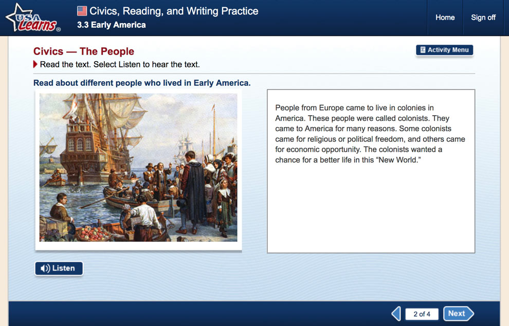 screenshot from Early America lesson in Civics, Reading and Writing Practice unit of USA Learns Citizenship course