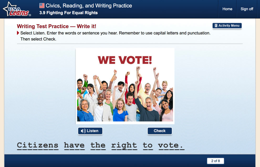 screenshot from Fighting for Equal Rights lesson in Civics, Reading and Writing Practice unit of USA Learns Citizenship course