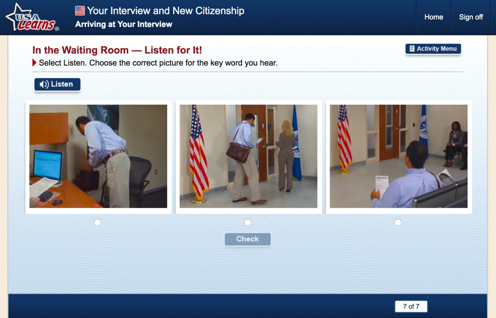 screenshot from Arriving at Your Interview in Your Interview and New Citizenship unit of USA Learns Citizenship course