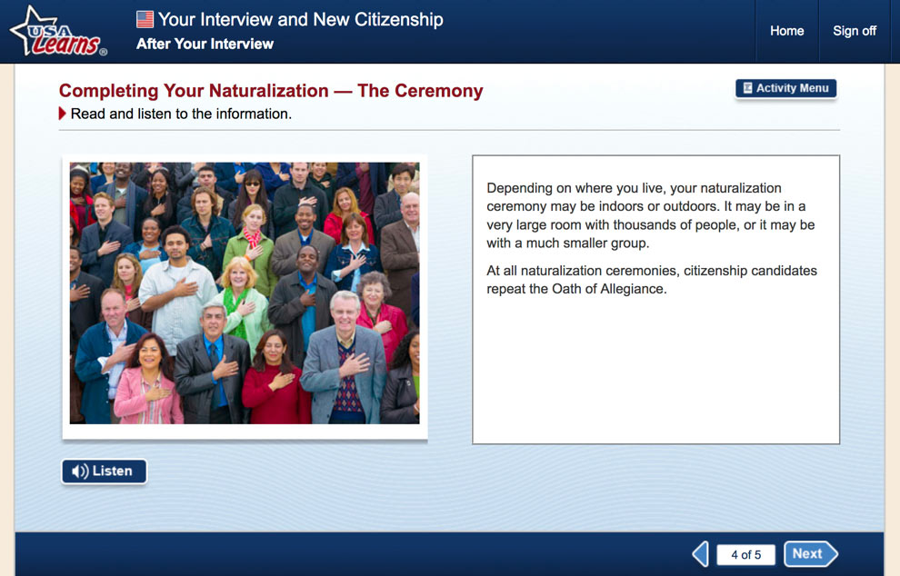 screenshot from After Your Interview in Your Interview and New Citizenship unit of USA Learns Citizenship course