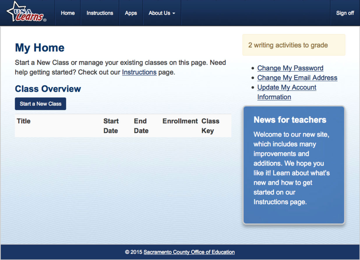 Screengrab of Create Class page