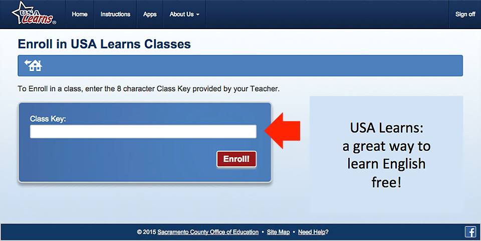 Enter the class key into the form.