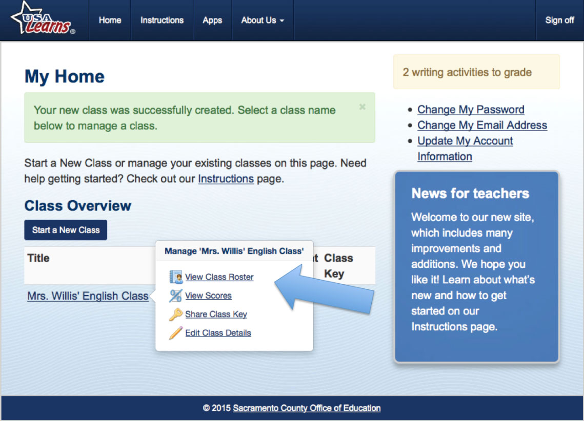 Screengrab of Manage Classes page